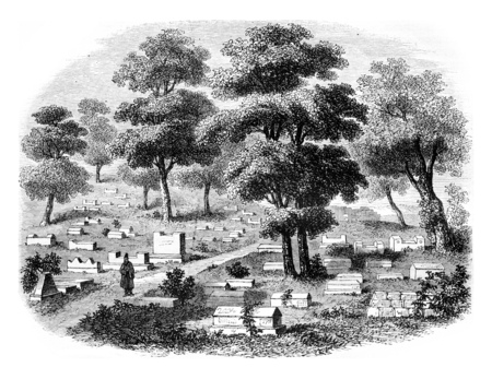 Crimea meridionale, The Valley of Jehoshaphat, cemetery of Jews caraites, in Tchifout Kale, vintage engraved illustration. Magasin Pittoresque 1855.