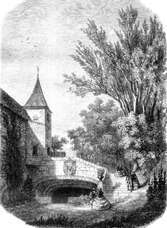 A door of the castle of Lauzun, vintage engraved illustration. Magasin Pittoresque 1858.