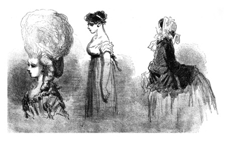 As the mode proceeding by Bofse, a tendency to go down, vintage engraved illustration. From The Tortures of Fashion. 스톡 콘텐츠