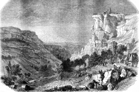 Rocamadour, vintage engraved illustration. Magasin Pittoresque 1858.