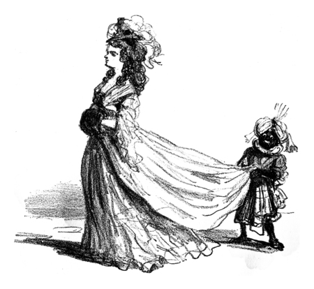Men, on the contrary, had toads to carry their tails, vintage engraved illustration. From The Tortures of Fashion.