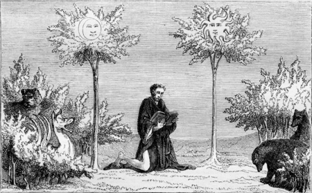 The Tree of the Sun and the Tree of the Moon, Miniature of the Book of Wonders, vintage engraved illustration. Magasin Pittoresque 1855.