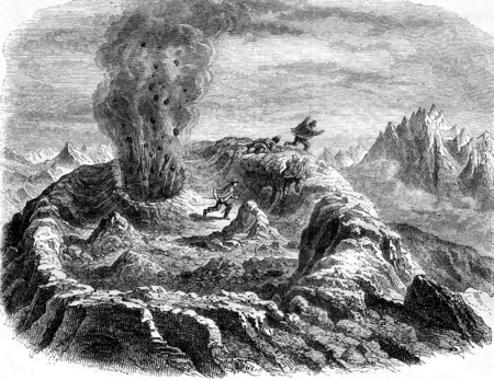 The Volcano of Antuco, Chile, Gas eruption, vintage engraved illustration. Magasin Pittoresque 1858.