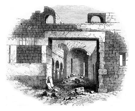 Rovine di un'antica chiesa cristiana nel vicino deserto del Fezzan, vintage illustrazione inciso. Magasin Pittoresque 1858.