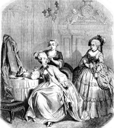 The toilet of a woman under Louis IV, vintage engraved illustration. Magasin Pittoresque 1855.