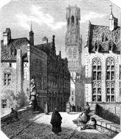 The Saint John Bridge and the Belfry Tower, in Bruges, vintage engraved illustration. Magasin Pittoresque 1855.