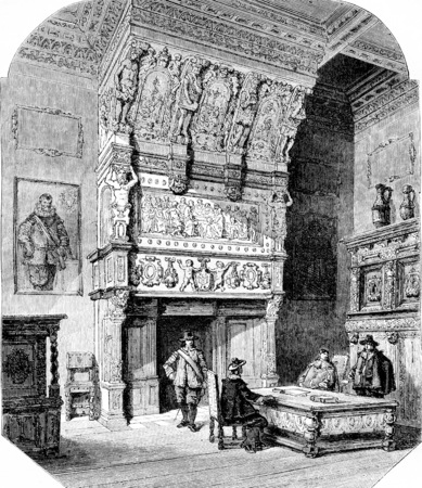 Chimney of the room of the marriages, in the town hall of Antwerp, vintage engraved illustration. Magasin Pittoresque 1855.