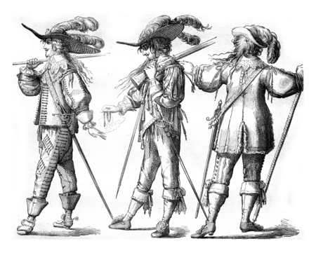 Officer and Musketeer on foot of the French Guards, in 1635, Officer with the hongreline, in 1643, vintage engraved illustration. Magasin Pittoresque 1858. Фото со стока