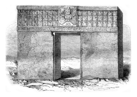 Tiahuanaco monolithic gate, By the lake of Chiquito, in Peru, vintage engraved illustration. Magasin Pittoresque 1858. Reklamní fotografie