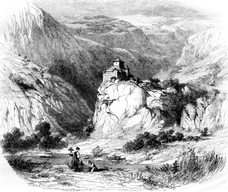 The Castle of Ortenstein, vintage engraved illustration. Magasin Pittoresque 1855.