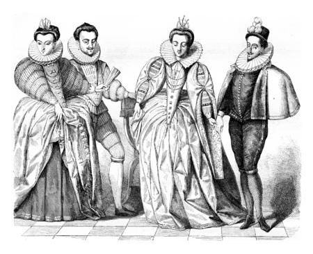 Louise de Vaudemont, wife of Henry iii, The Duke of Guise, Marguerite de Vaudemont and Anne de Joyeuse, vintage engraved illustration. Magasin Pittoresque 1855. Banque d'images - 107853593