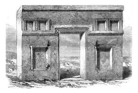 Tiahuanaco monolithic gate, West coast, vintage engraved illustration. Magasin Pittoresque 1858.