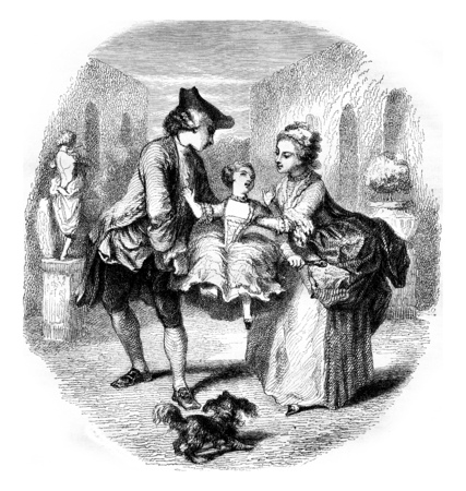 The Power of a Child, vintage engraved illustration. Magasin Pittoresque 1855. Фото со стока - 107853620