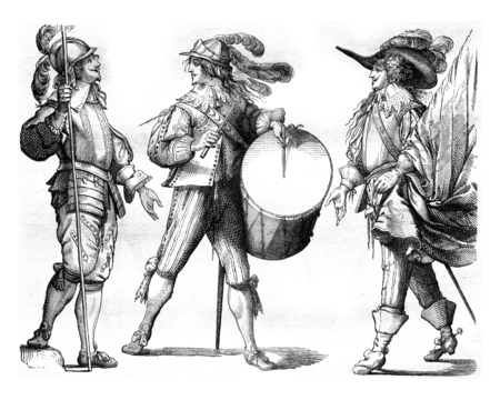 Piker, Drum and Flag Bearer of french Guards in 1635, vintage engraved illustration. Magasin Pittoresque 1858. Фото со стока
