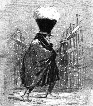 Tromblon hat, vintage engraved illustration. From The Tortures of Fashion.