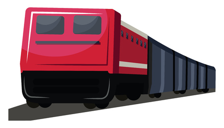 Red and deep grey front view of transport train vector illustration on white background. Illustration