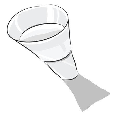 A transparent glass with a water inside and a shadow, vector, color drawing or illustration.