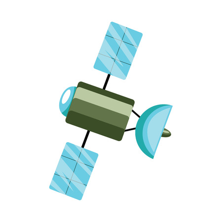 Green and blue satellite vector illustration on white background