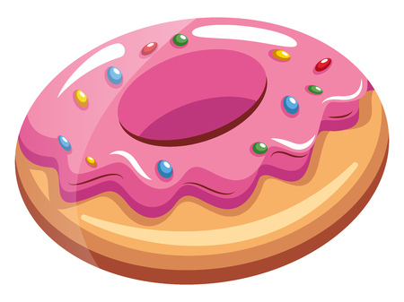 A Choco Pie with pink topping and different colored germs sprinkled all over, vector, color drawing or illustration. Ilustrace
