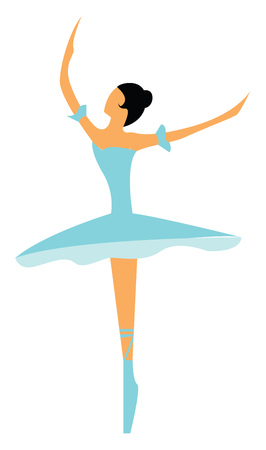 A lady ballerina with a blue ballerina dress and shoe, cartoon, vector, color drawing or illustration.