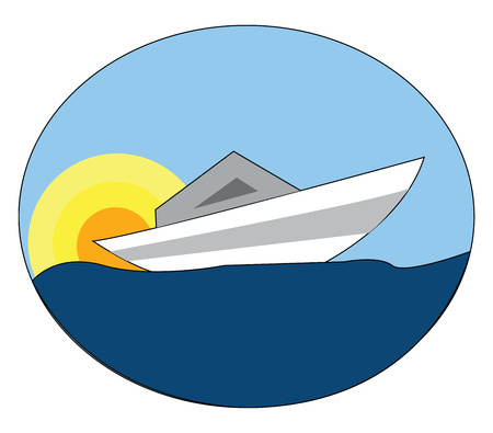 White boat on blue water with a yellow and orange sun in the background vector illustration on white background.
