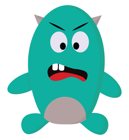 A green monster with two gray horns, two front teeth, red tongue and big eyes, cartoon, vector, color drawing or illustration.