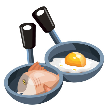 Two cooking pans one pan with  pan and eggs and other one with fish vector color drawing or illustration.