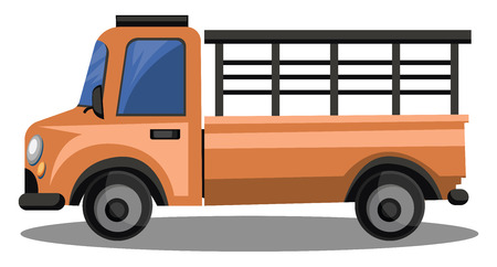 Orange lory truck for transporting glass vector illustrition on white background.