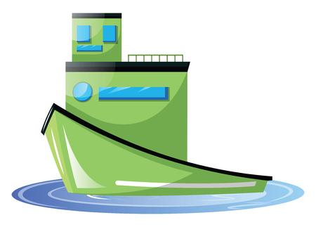 Big light green transport ship vector illustration on white background. Иллюстрация