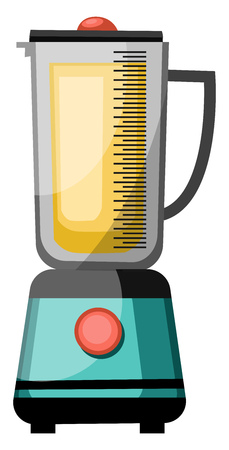 A Juicer Mixer with a jar on top a button to switch on the mixer vector color drawing or illustration. Illustration
