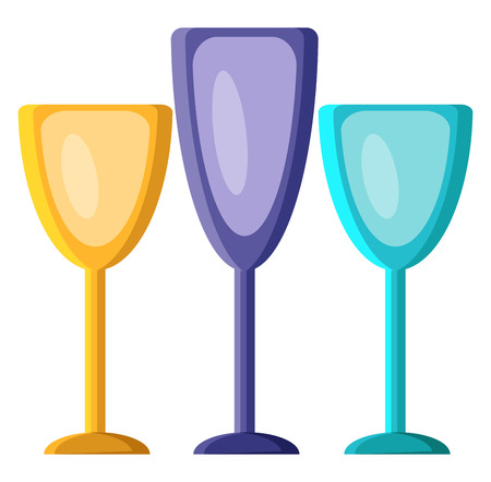Three drinking glasses in purple yellow and blue color to drink wine or liquids vector color drawing or illustration.