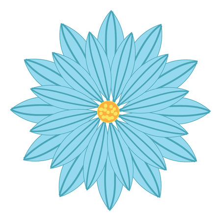 A blue colored flower with a circle yellow disk florets in the center, vector, color drawing or illustration.