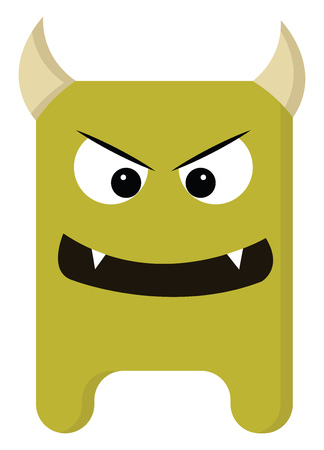 An angry monster with two sharp teeth and two horns, vector, color drawing or illustration.