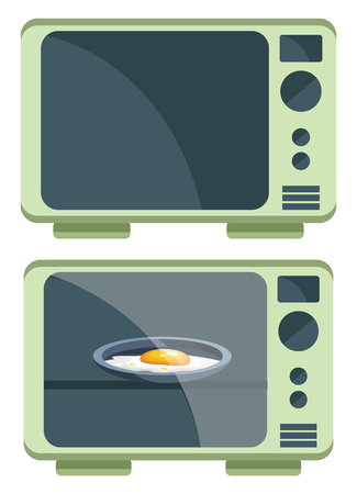 Two Microwave ovens one is heating egg omelette while the other one is empty vector color drawing or illustration.