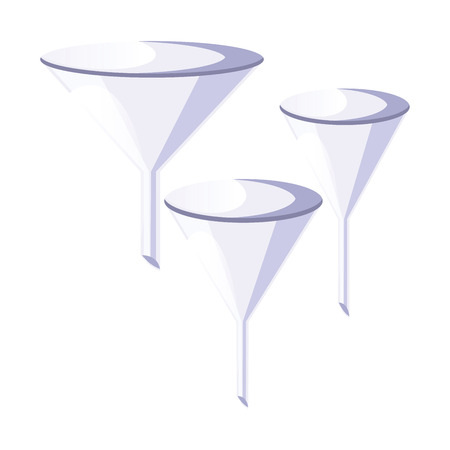 Three simple funnel design vector illustration on white background