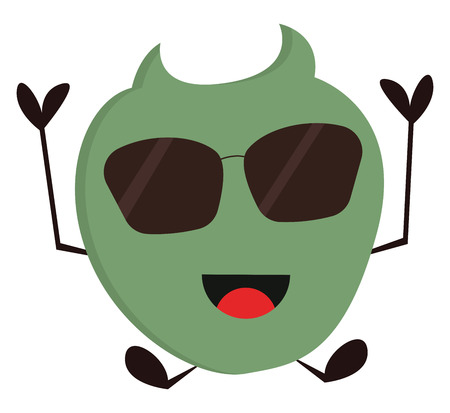 Smiling green monster with sunglasses vector illustration on white background.