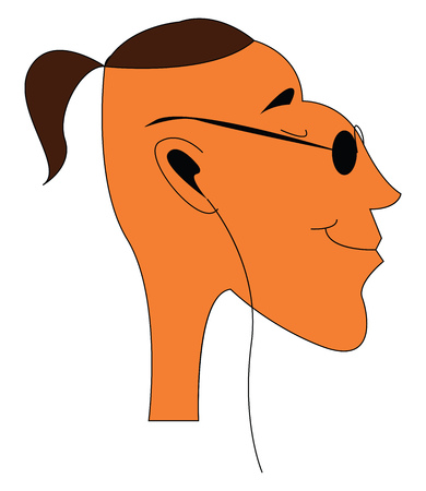 A happy boy with black glasses, ponytail hair and a headphone, cartoon, vector, color drawing or illustration.