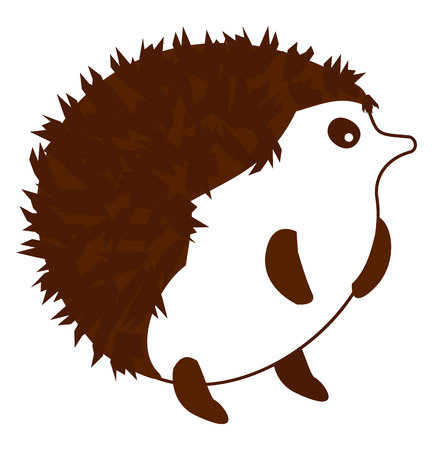 A Porcupine in white color with dark spikes hair standing on two legs  vector color drawing or illustration. Ilustrace