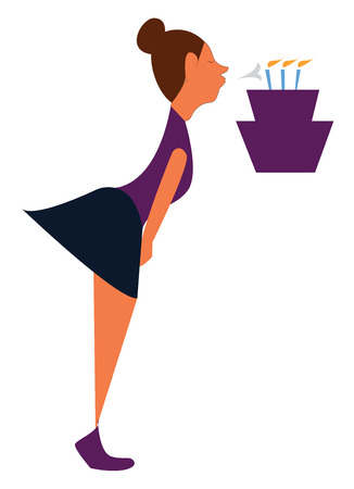 A purple birthday cake and a girl blowing the 3 blue candles wearing a purple shirt and shoes, cartoon, vector, color drawing or illustration.