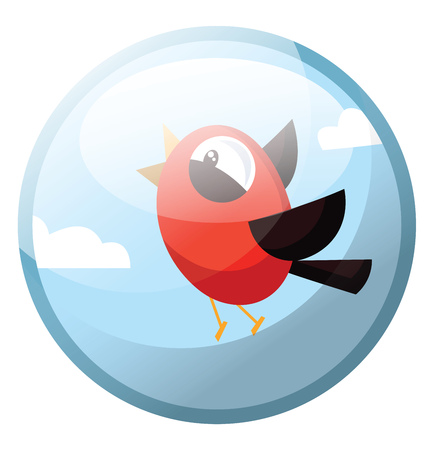 Cartoon character of a red bird with black wings vector illustration in grey light blue circle on white background.