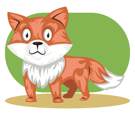 A Orange cat with white fur in green background, vector, color drawing or illustration. Иллюстрация
