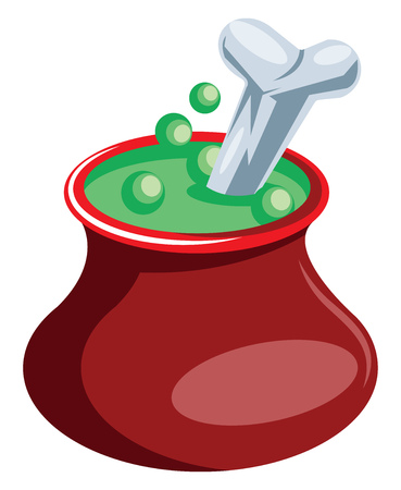Red pot with green poison and bone floating vector illustration on white background. 向量圖像