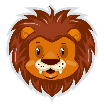 A Lion Head with lot of feather around the head and with white mouth, vector, color drawing or illustration.