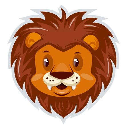 Una cabeza de león con muchas plumas alrededor de la cabeza y con la boca blanca, vector, dibujo a color o ilustración.
