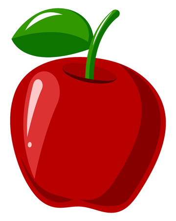 A Red apple with green leaf on top and a stem on top to hold the apple, vector, color drawing or illustration. Stock Illustratie