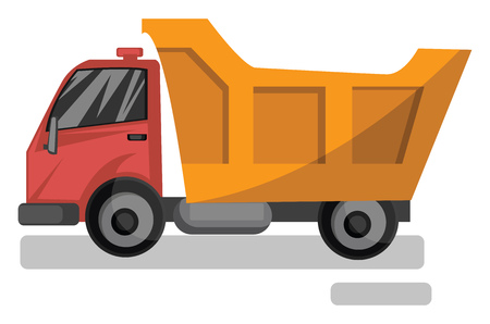 Vector illustration cartoon style of red and yellow dump truck on white background.