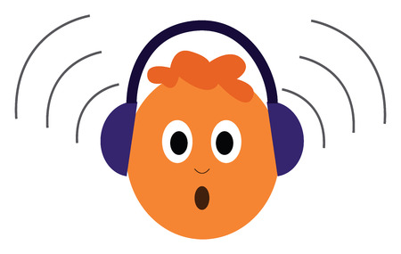 A baby wearing a loud purple headphones with a brown hair, vector, color drawing or illustration.