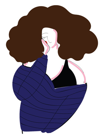 Girl with curly brown hair vector illustration on white background. Ilustração