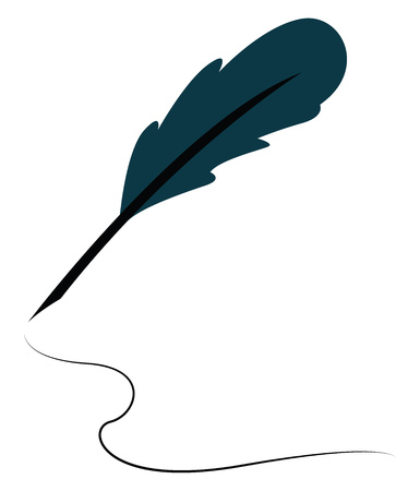 A cyprus colored feather quill pen, vector, color drawing or illustration.