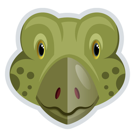 A Frog face in green color with dots around, vector, color drawing or illustration. Ilustração
